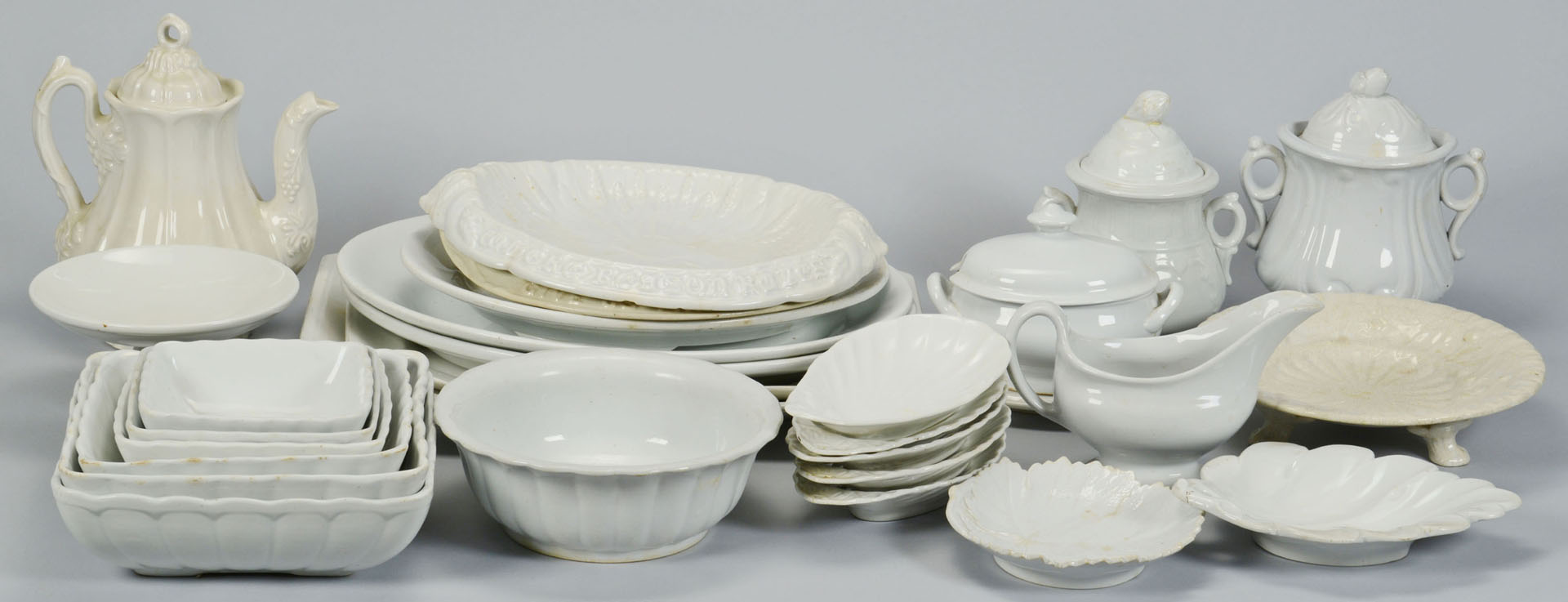 Large grouping of white ironstone, 28 Pieces