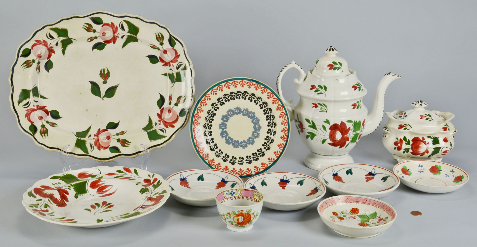 Lot 638: 11 pcs of Adams Rose Ironstone Pottery, Other