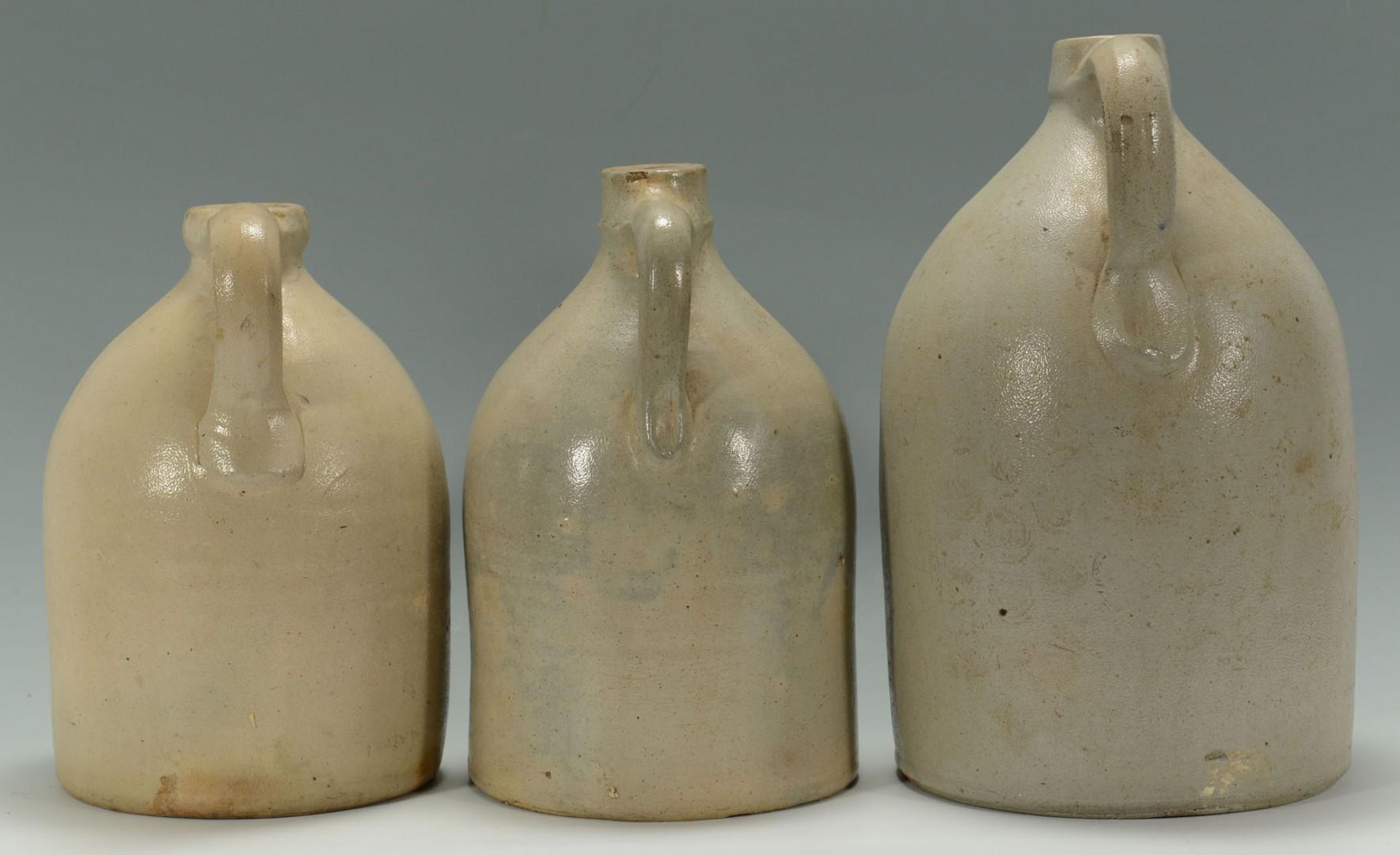 3 Cobalt Decorated Stoneware  Jugs inc MA