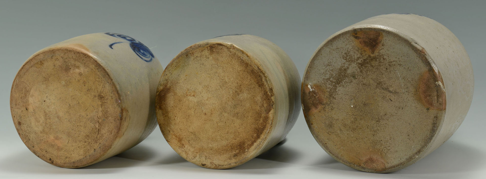 Lot 639: 3 Cobalt Decorated Stoneware Jugs inc MA