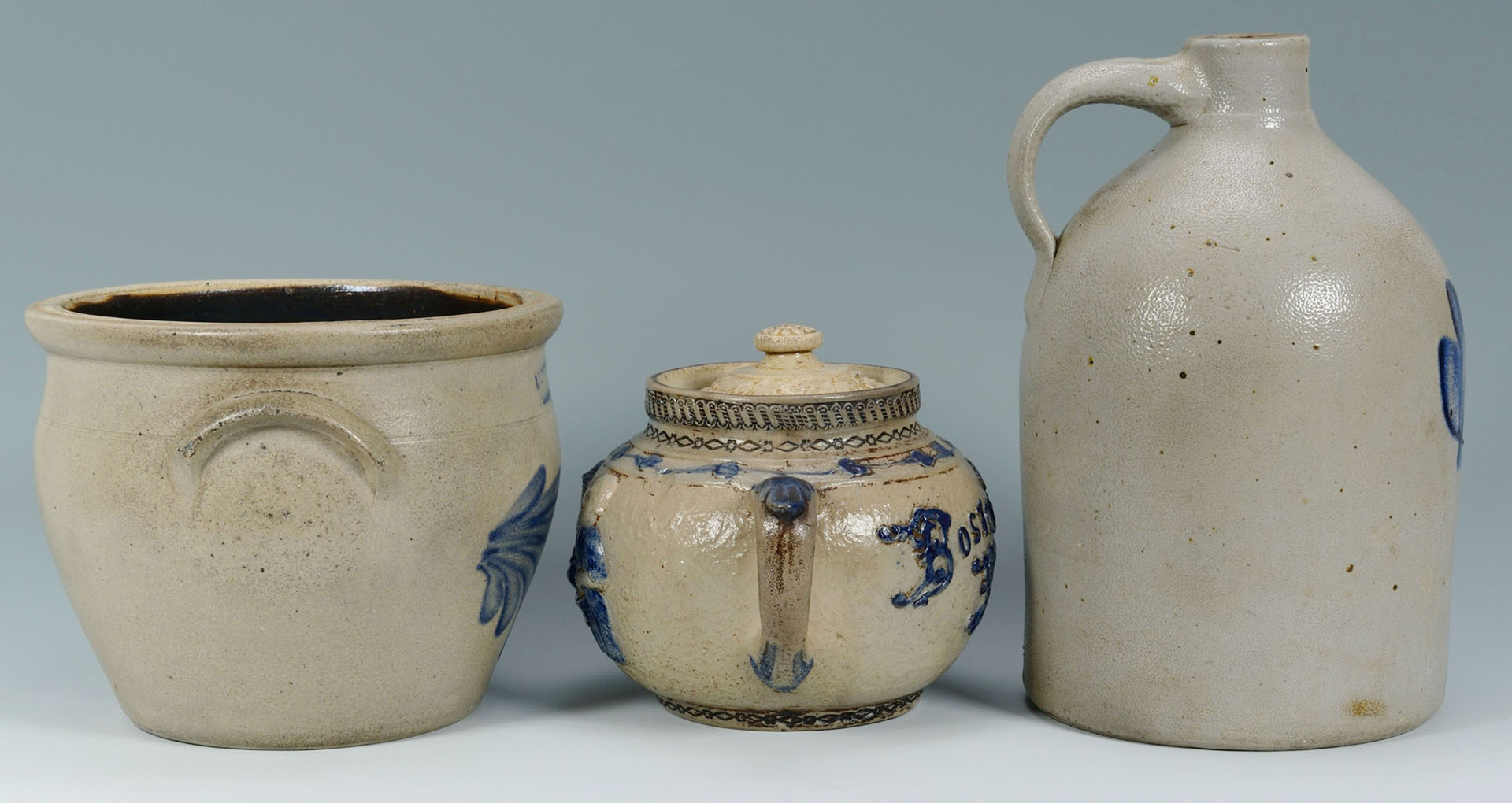 3 Stoneware Pottery Items w/ Cobalt Decoration