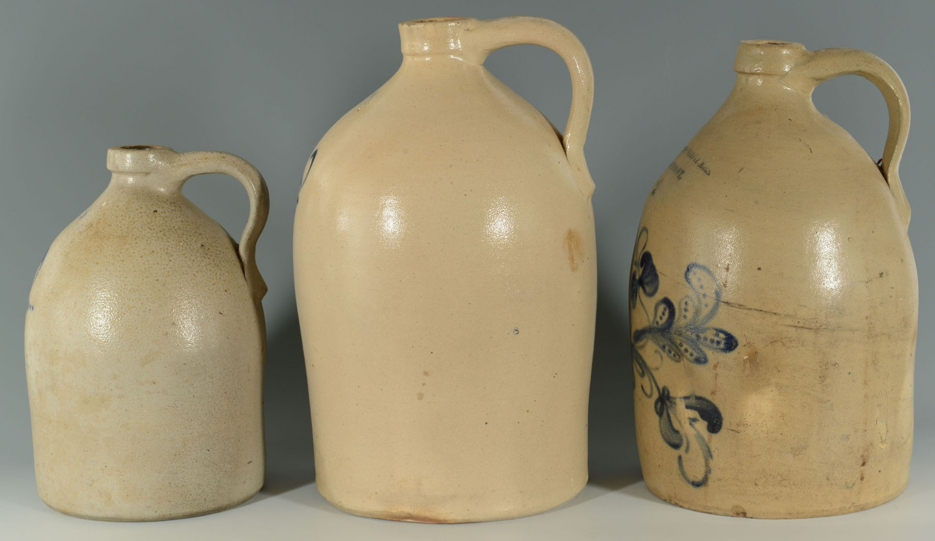 Lot 641: 3 Cobalt Dec. Stoneware Jugs, VT inc. Woodworth, B