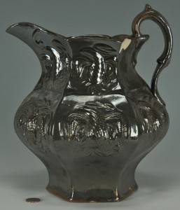 Lot 644: Molded Stoneware Pitcher w/ Eagles