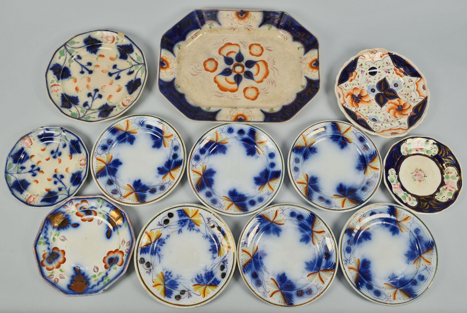 Large grouping of Gaudy Ironstone, 21 pieces