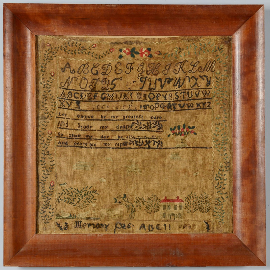 Lot 650: 19th century Needlework Sampler, poss. Southern