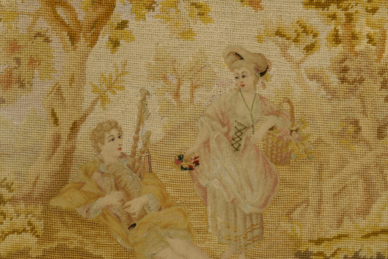 Lot 654: Tapestry remnant and Rose Botanical