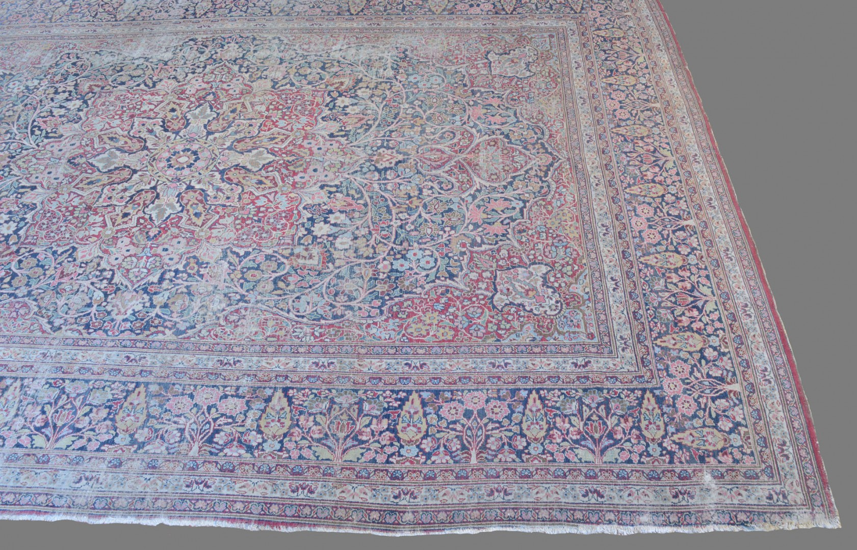 "Antique Lavar Kerman Carpet, 14'6"" x 10'"