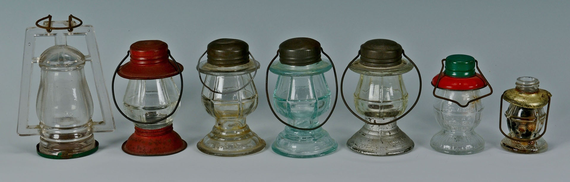 12 American Glass Candy Containers
