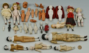 Lot 677: 27 Miniature China & Bisque Dolls w/ 3 Figures