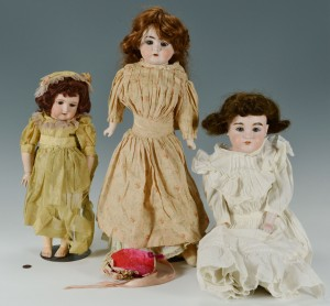 Lot 678: 3 German Bisque Head Dolls