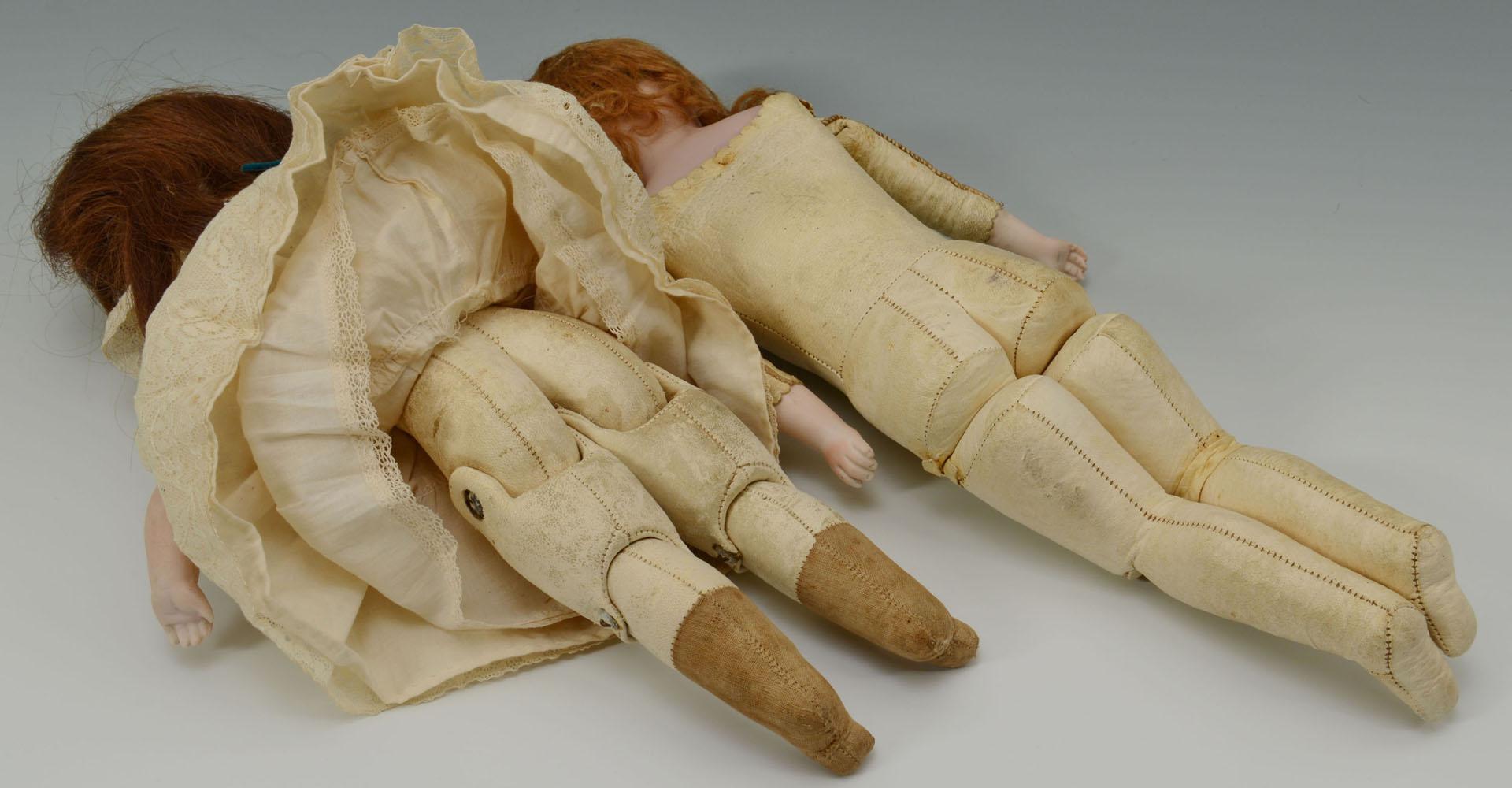 """2 Bisque Head German Dolls, 14-15""""H"""