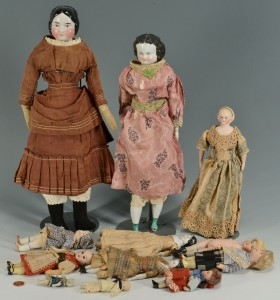 Lot 681: Assorted bisque and china dolls, 12
