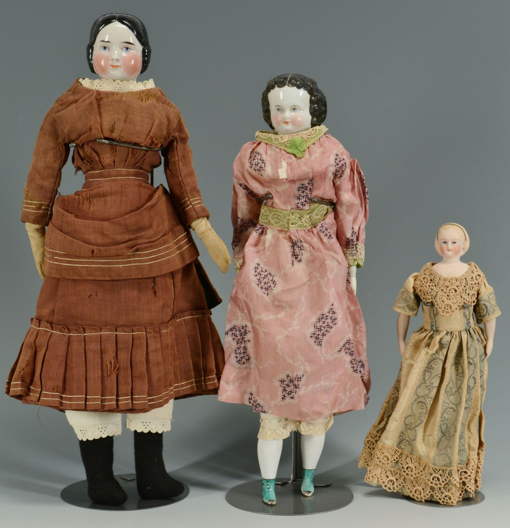 Assorted bisque and china dolls, 12