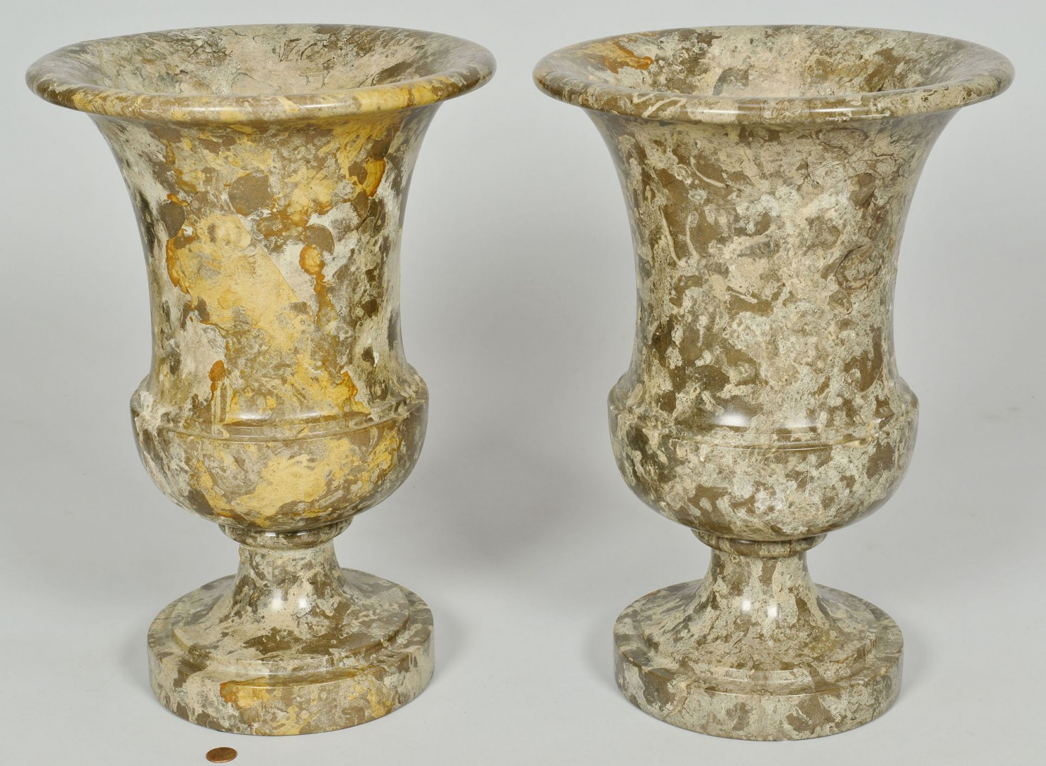 "Lot 683: Pair of Mottled Marble Urns, 16"" H"
