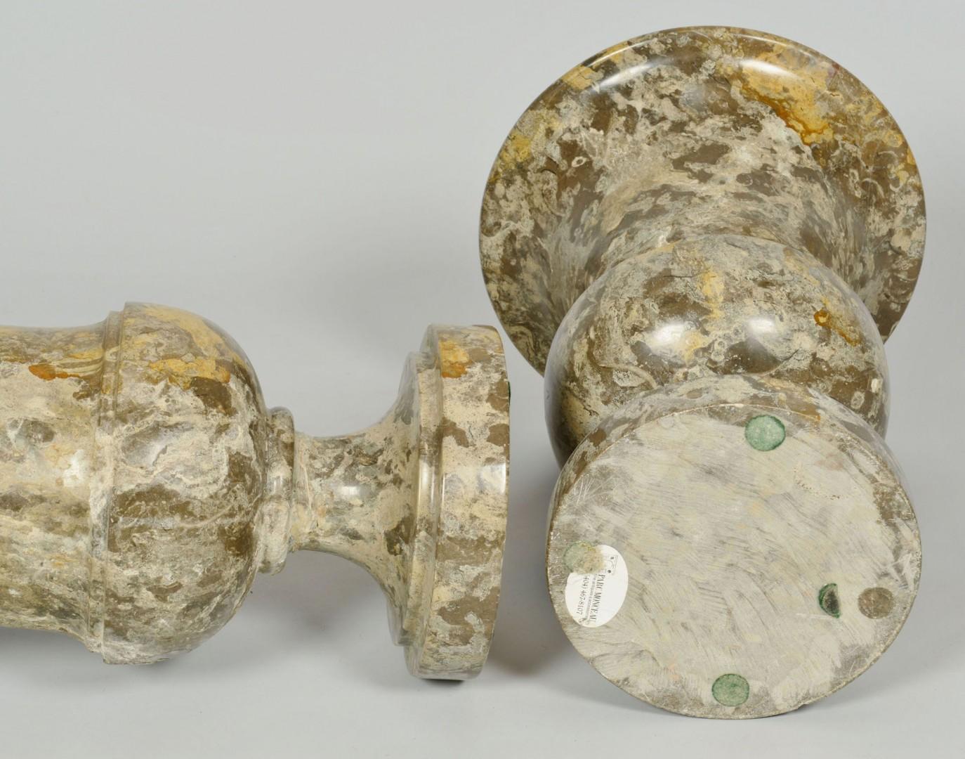 "Pair of Mottled Marble Urns, 16"" H"