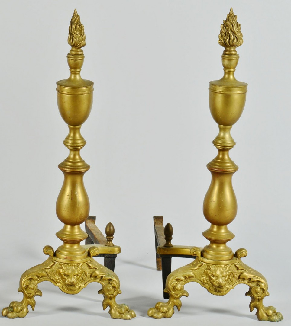Lot 685: Grouping of 4 Brass Andirons, 2 Prs.
