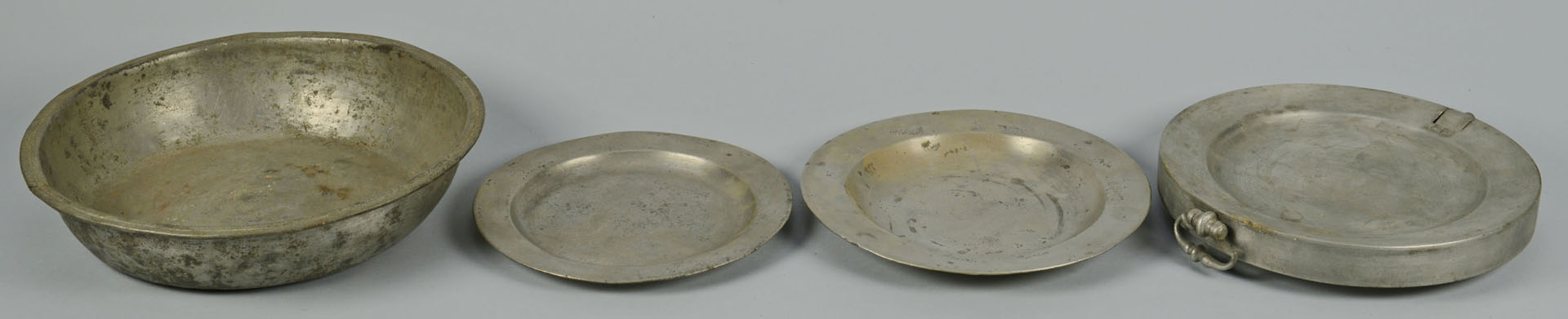 Lot 687: Grouping of Pewter Domes, Chargers, Plates