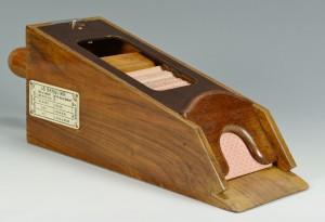 """Lot 689: Vintage French """"Le Banquier"""" Baccarat Card Shoe"""