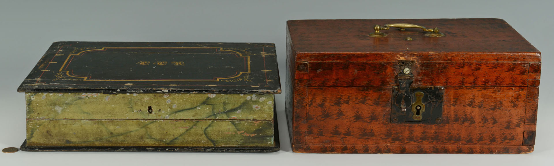 2 Small Paint Decorated Document Boxes