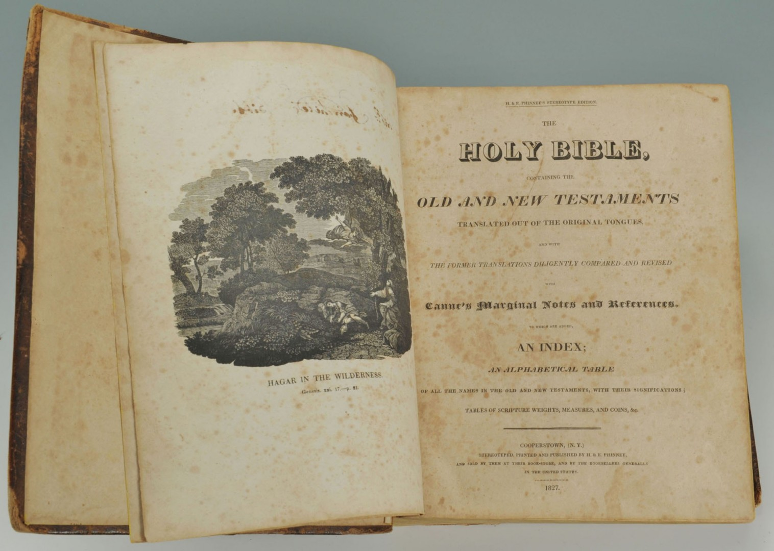 Lot 693: 1827 Phinney's Stereotype Bible & Merit Cert