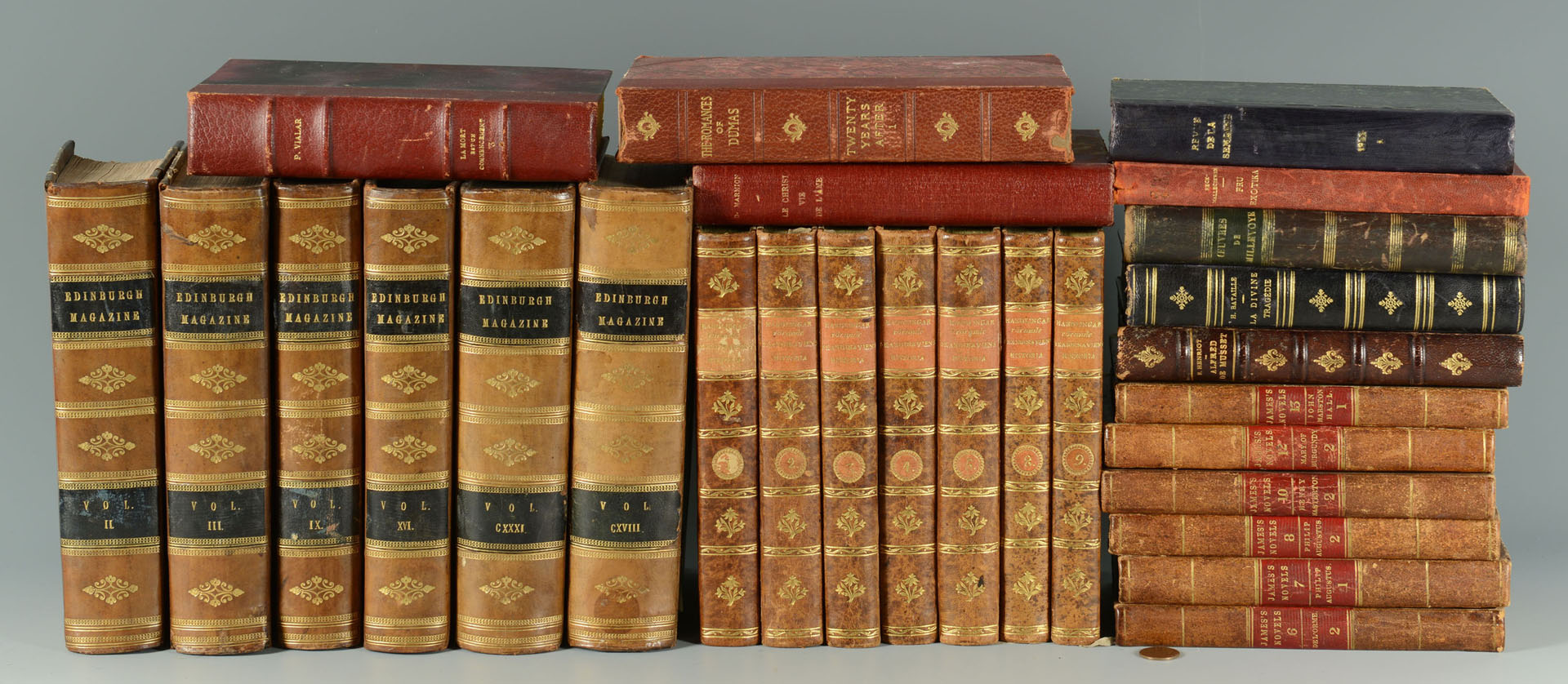 Lot 694: 27 Antique Leatherbound Books, 19th c.