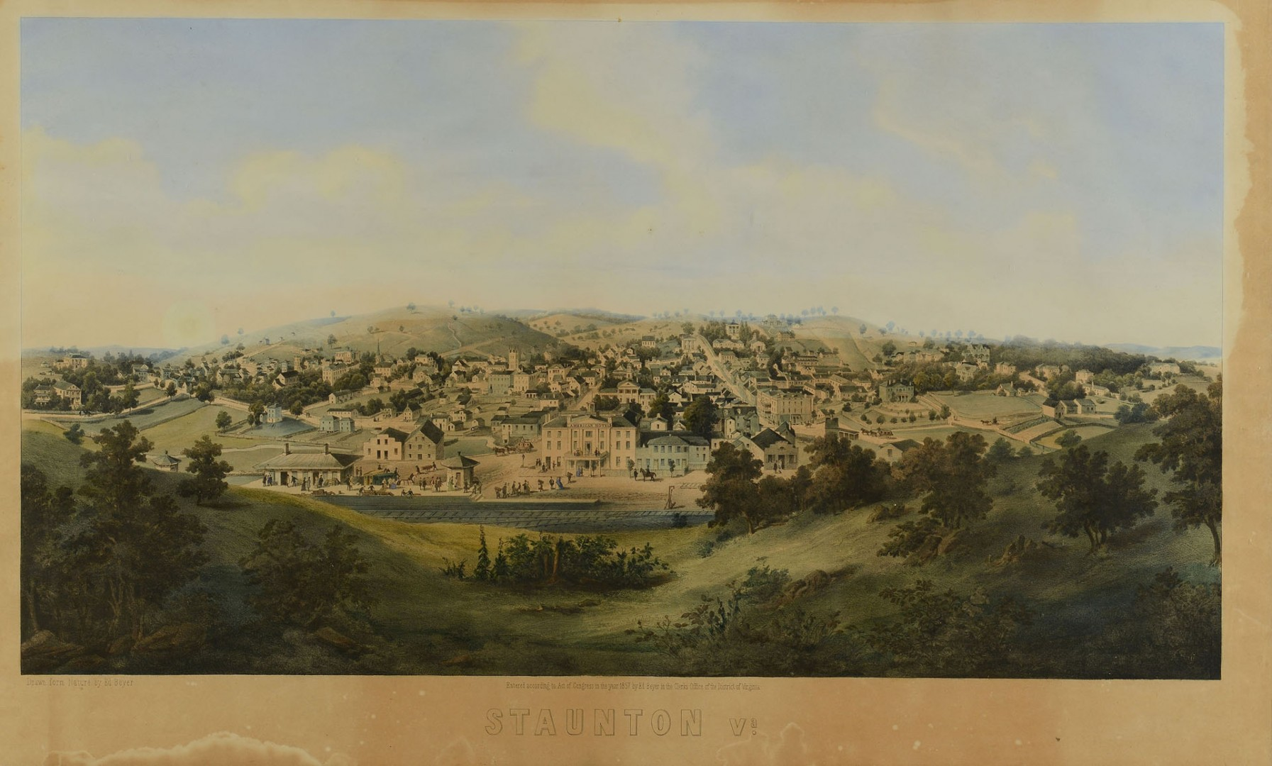 Ed Beyer Lithographic View of Staunton, VA