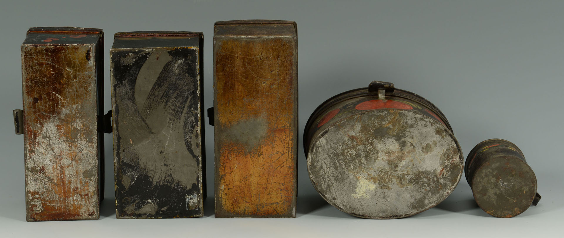 Grouping of 4 painted tole items, tea caddy inc.