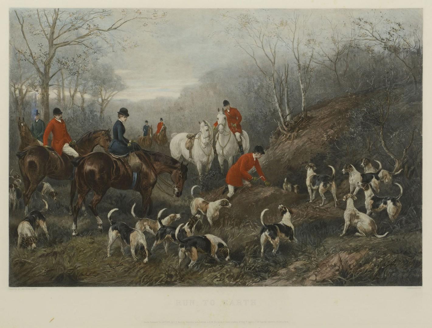 Pair of English Hunting Prints, 19th c.
