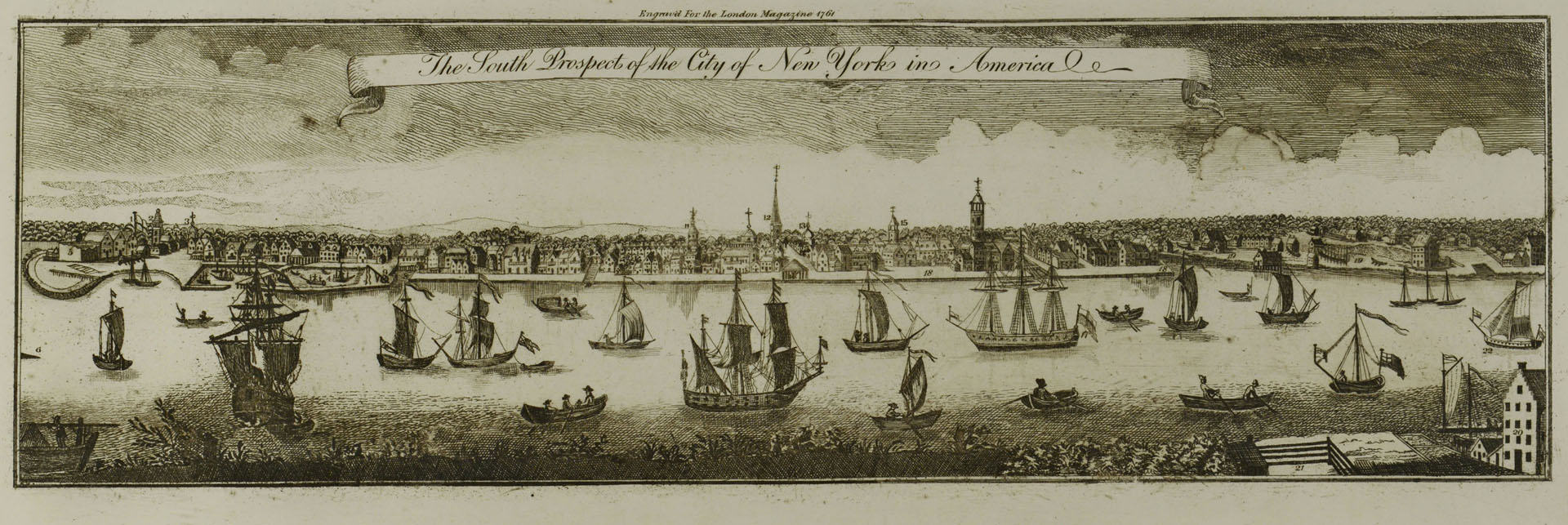Lot 704: Engraving of the City of New York, after 1761