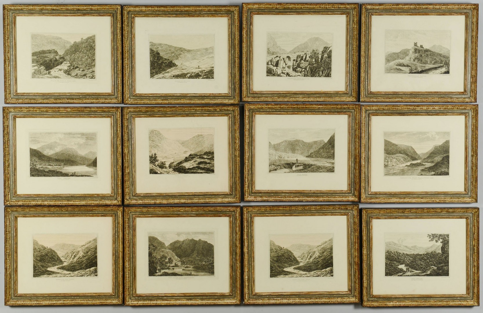 Lot 706: 12 etchings of Wales by John George Wood