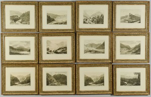 Lot 706: 12 etchings of Wales by John George Wood