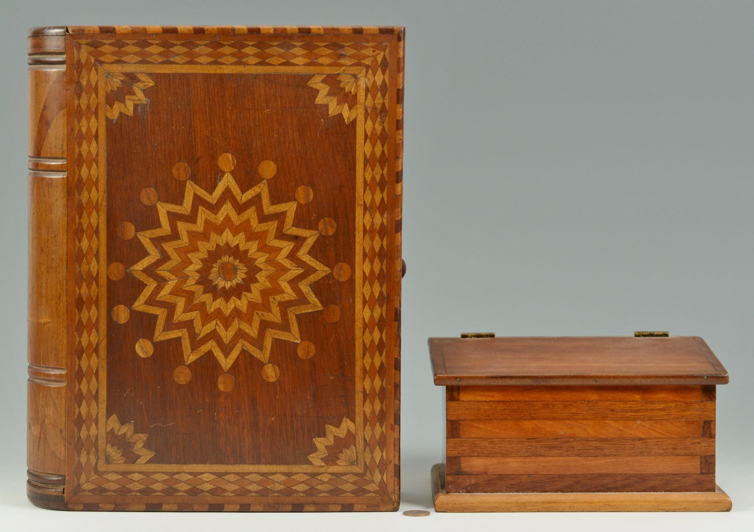 Lot of two folk art inlaid boxes, one book box