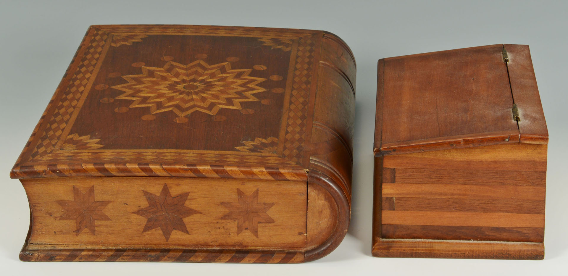 Lot 70: Lot of two folk art inlaid boxes, one book box
