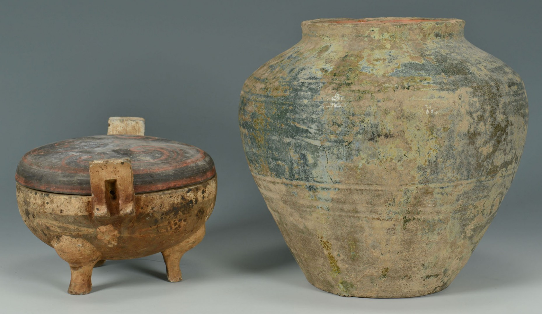 Lot 715: 2 Chinese Han Dynasty Pottery Vessels