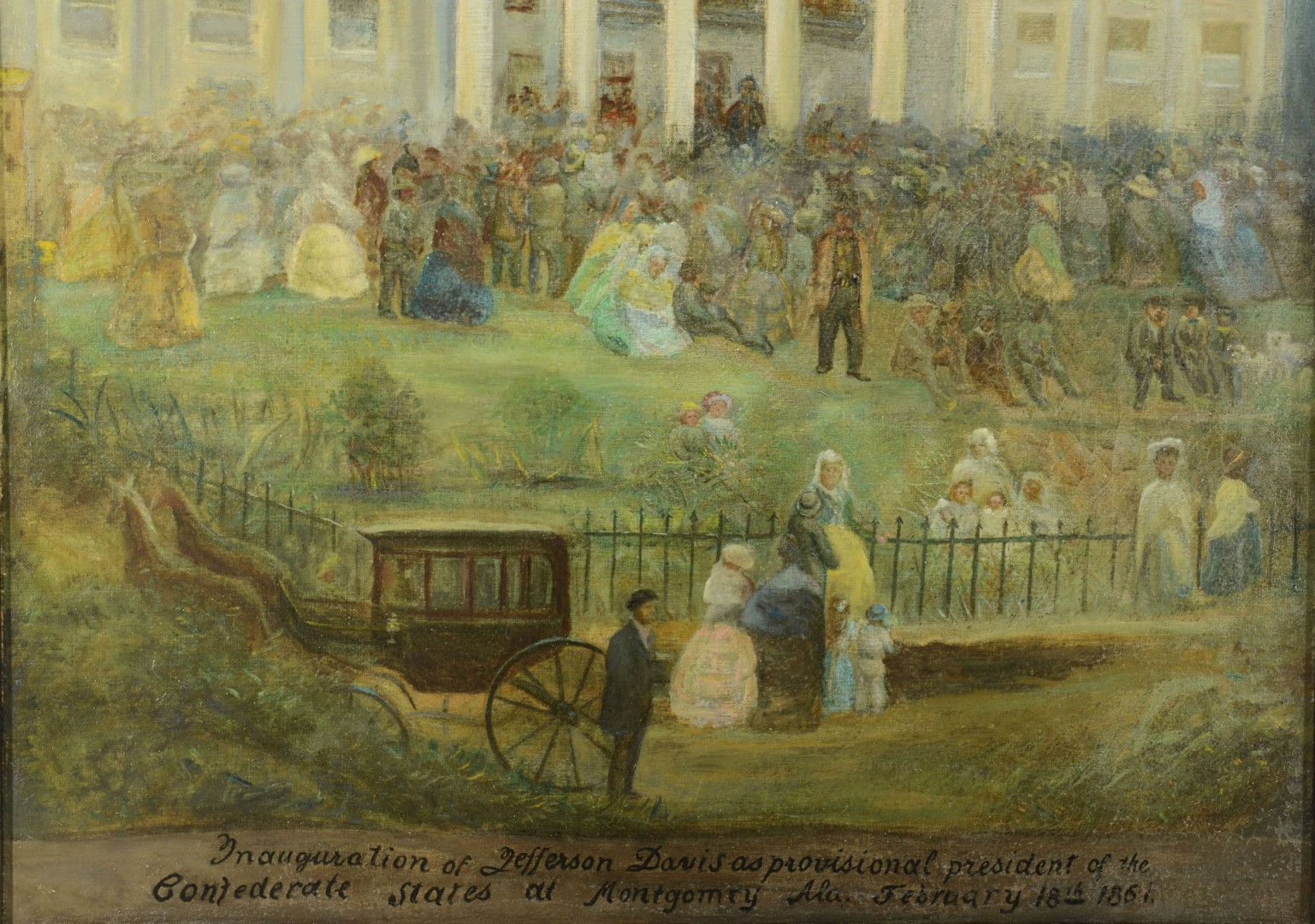 Lg. Painting of Jefferson Davis inauguration
