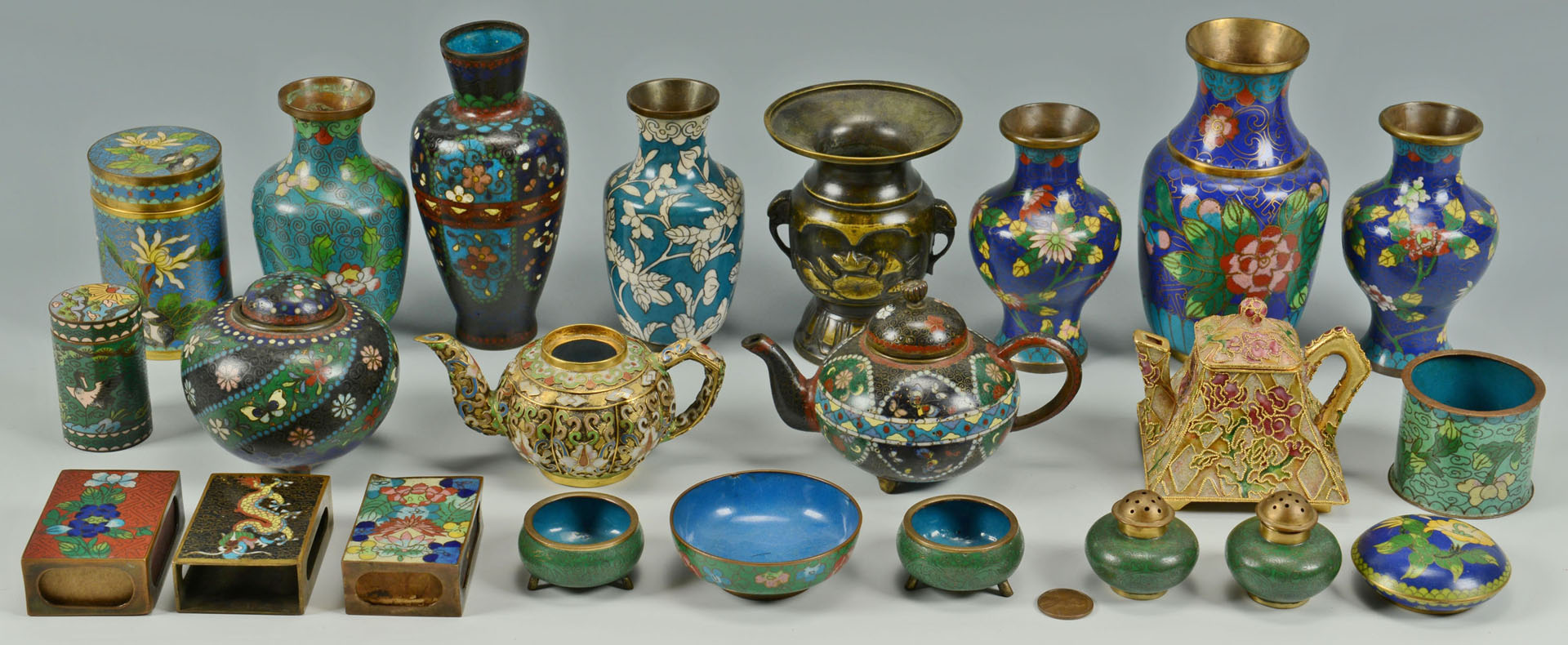 Lot 720: 23 items Chinese Cloisonne inc. miniature items