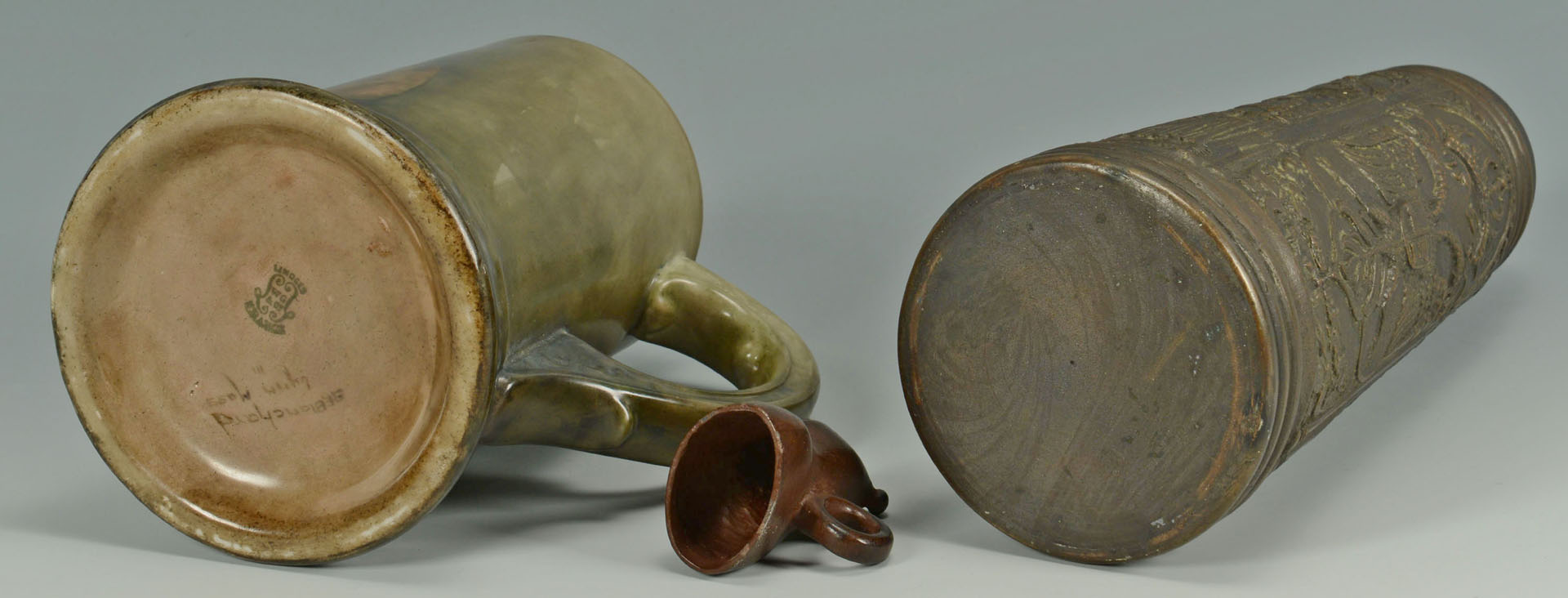 Lot 723: Bronze Kreussen style tankard, Limoge tankard, & m