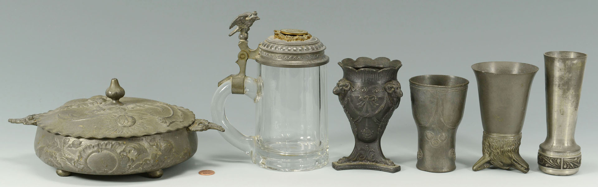 Lot 724: Six decorative pewter items including Jugendstil