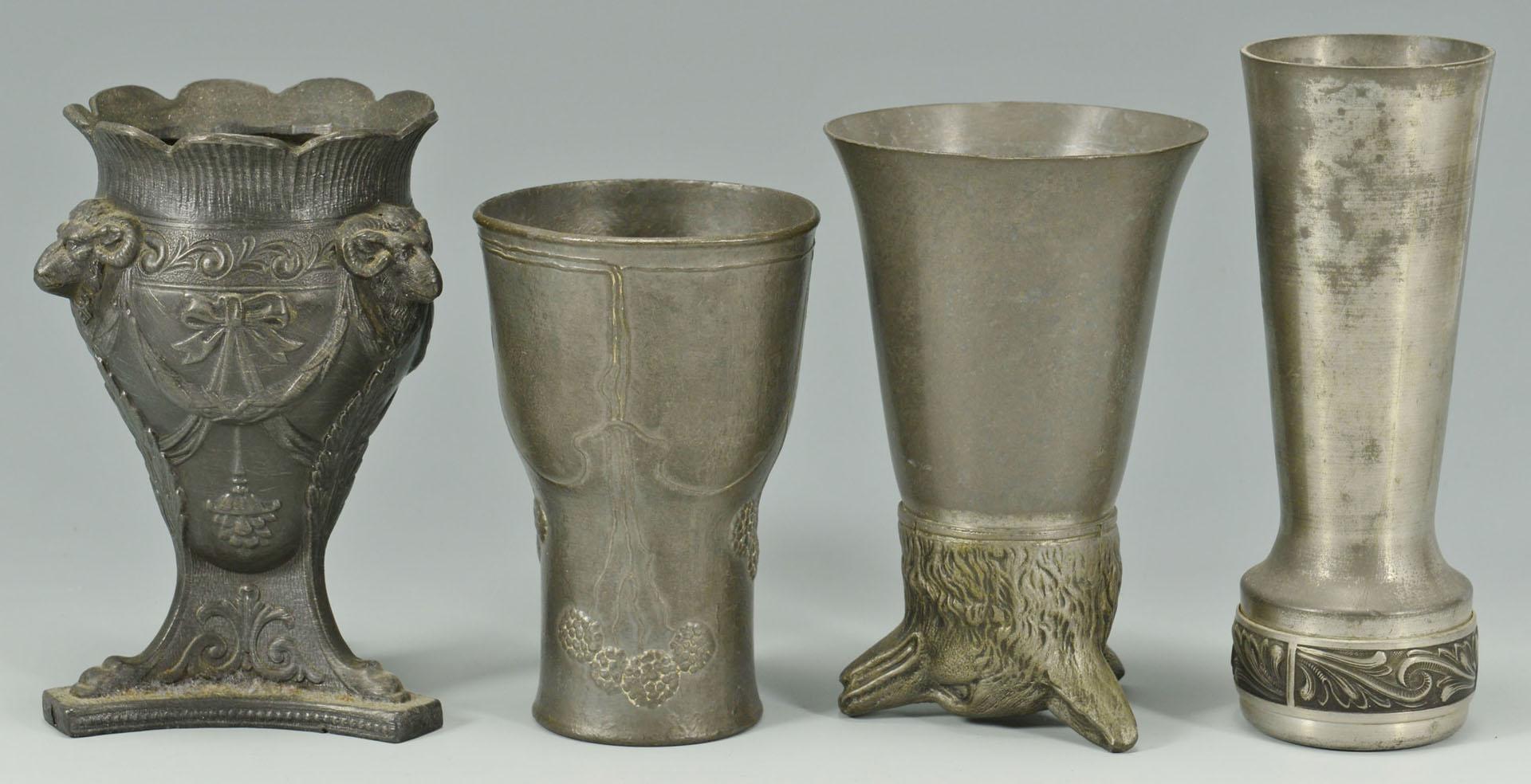 Lot 724: Six decorative pewter items including Jugendstil