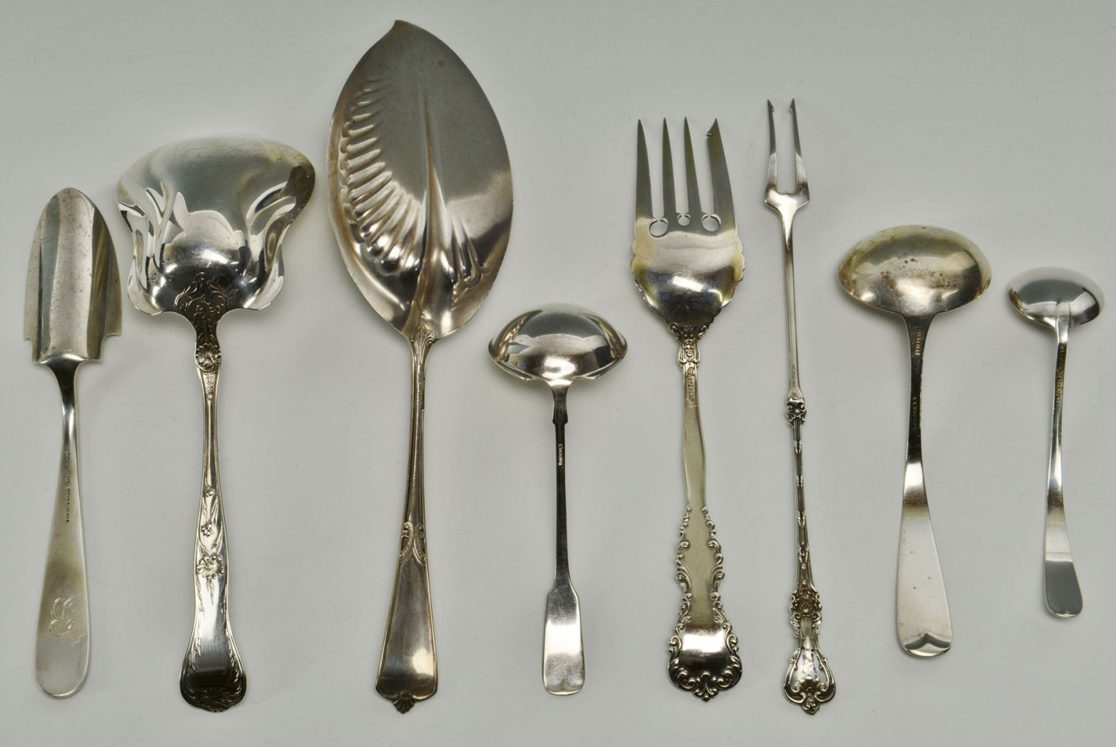 8 American Sterling serving pieces, early patterns
