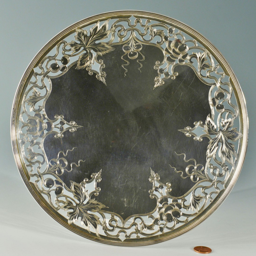 Gorham Sterling Pedestal Dish with engraved grapes