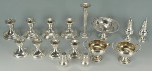 Lot 730: Grouping of Weighted Sterling Silver, 16 pcs.