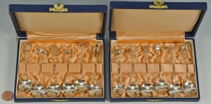 Lot 731: Set of 12 Japanese .950 Silver Novelty Spoons