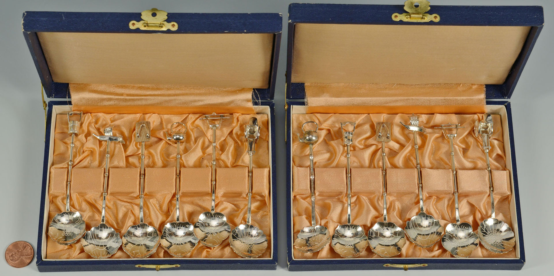 Set of 12 Japanese .950 Silver Novelty Spoons