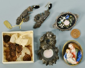 Lot 740: Victorian Jewelry: Hair, Gutta Percha, Micro-Mosai