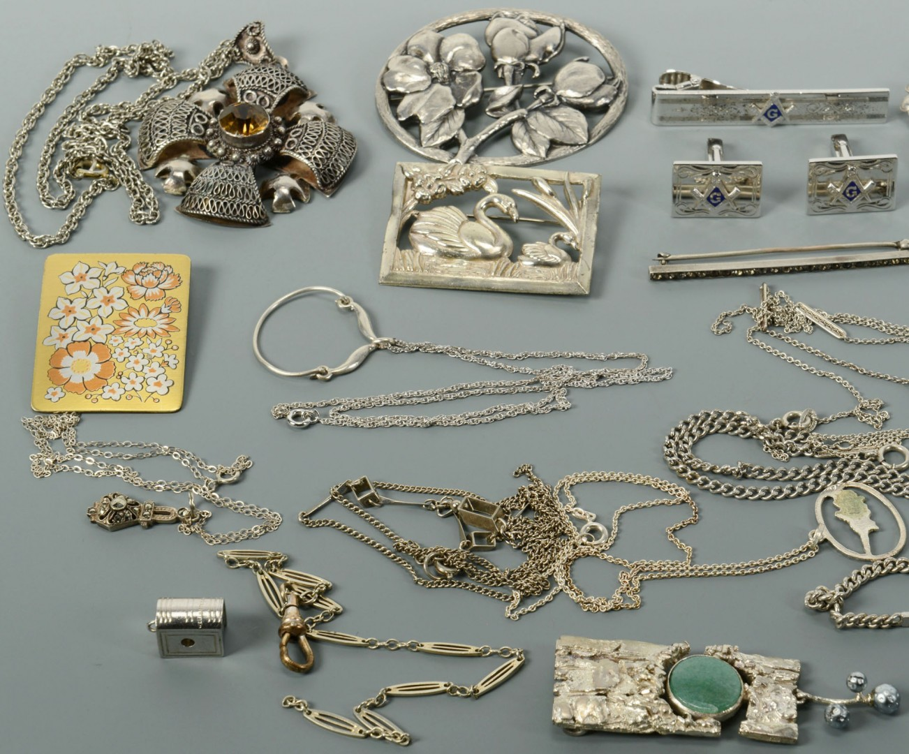 Lot of Silver Jewelry: Floral, Masonic, Religious