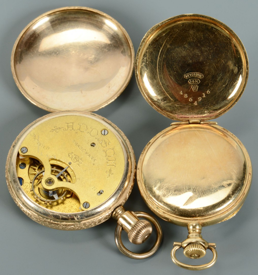 Lot 743: Group of 7 pocket watches, inc 14K Omega