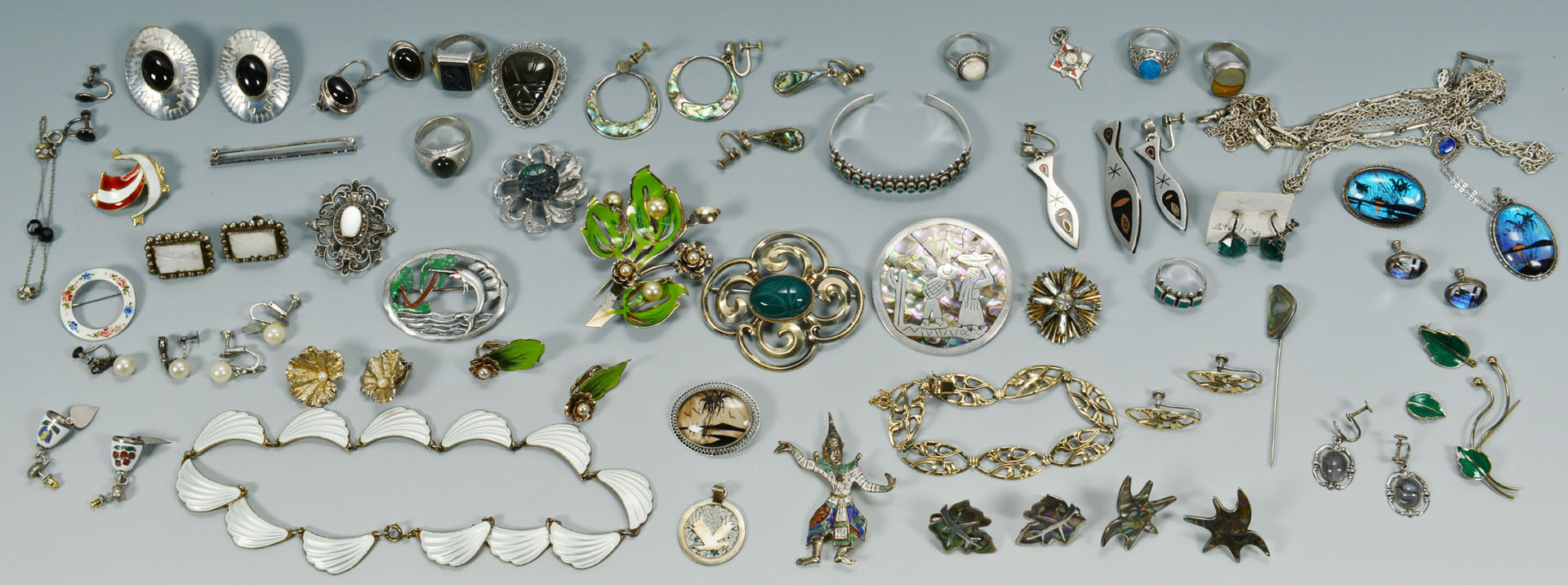 Lot 746: Large lot of silver jewelry with enamel and stones