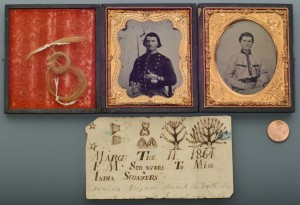 Lot 74: 2 Civil War Era AL Ambrotypes w/ Folk Art Note