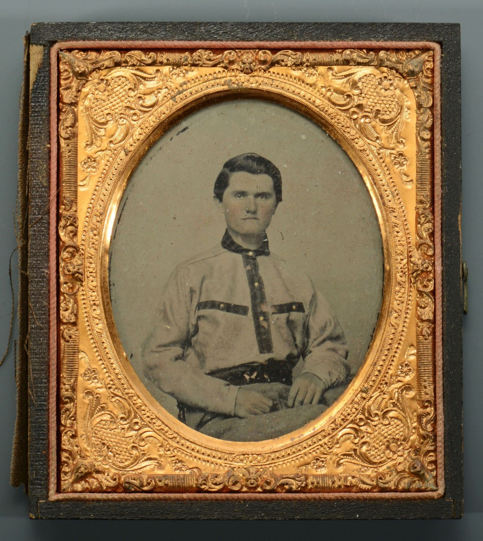 2 Civil War Era AL Ambrotypes w/ Folk Art Note